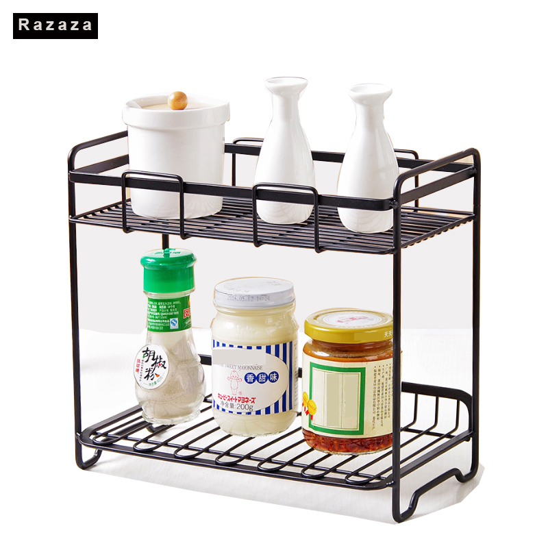 2 Layers Iron Storage Rack Spice Condiment Holder Basket Desk ...