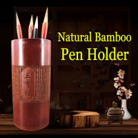 Natural Bamboo Pen Holder Desk Accessories Organizer Traditional Poetry works Lettering for Artist Painting Calligraphy Art Set