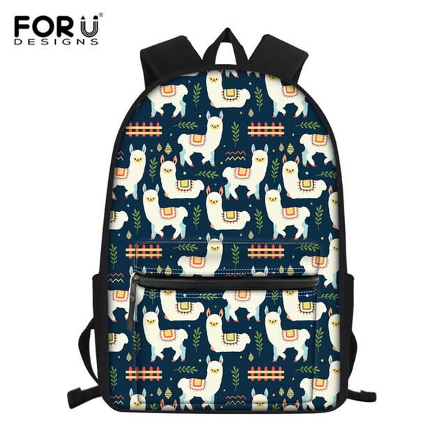 FORUDESIGNS Floral Llama Alpaca Printed School Bags for Kids Primary Schoolbags Girls Large Capacity Book Bags Satchel Mochila – L3495Z58