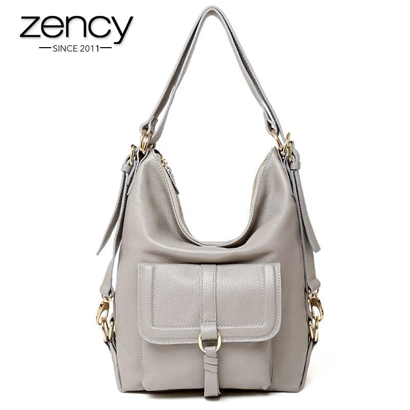 Zency marca nueva moda hobo bolso del cuero genuino de grandes bolsas de hombro