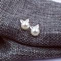 Silver Plated Animal Shaped Jewelry Cute Pearl Cat Head Studs Earrings