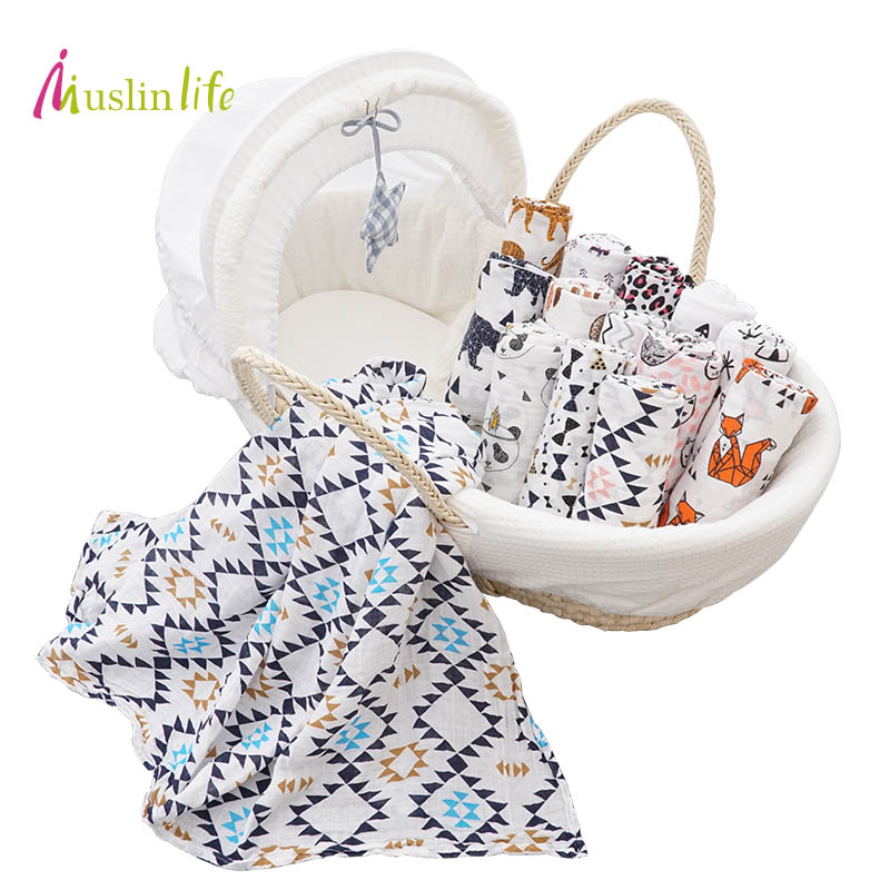Clearance!!! Breathable Soft Muslin Cotton Baby Blankets Newborn Single Layer Receiving Blanket 120*120cm