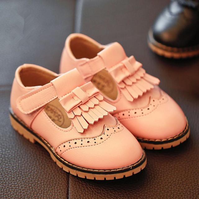 2016 nova tassel shoes do bebê das meninas dos meninos sapatos casuais moda britânica de couro shoes chaussure criança das crianças bottine plana princesa