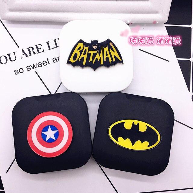 LIUSVENTINA Portátil DIY Acrílico Bonito Batman Capitão América Caso Lente de Contato com Espelho para As Lentes Da Cor Presente para As Crianças