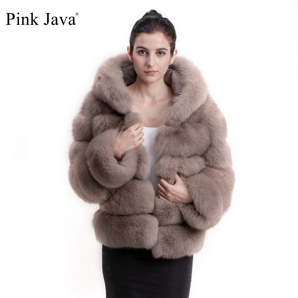 Pink Java QC8143 2017 new arrival women winter thick fur coat real fox fur jacket with
