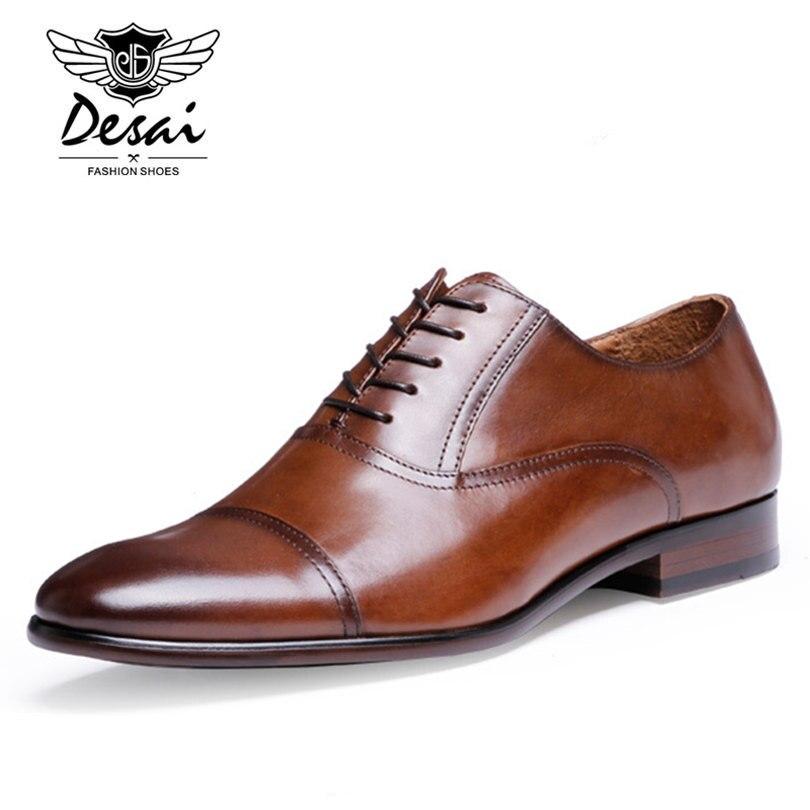 DESAI marque en cuir pleine fleur hommes d'affaires chaussures habillées rétro en cuir verni Oxford chaussures pour hommes taille EU 38-47 - 2