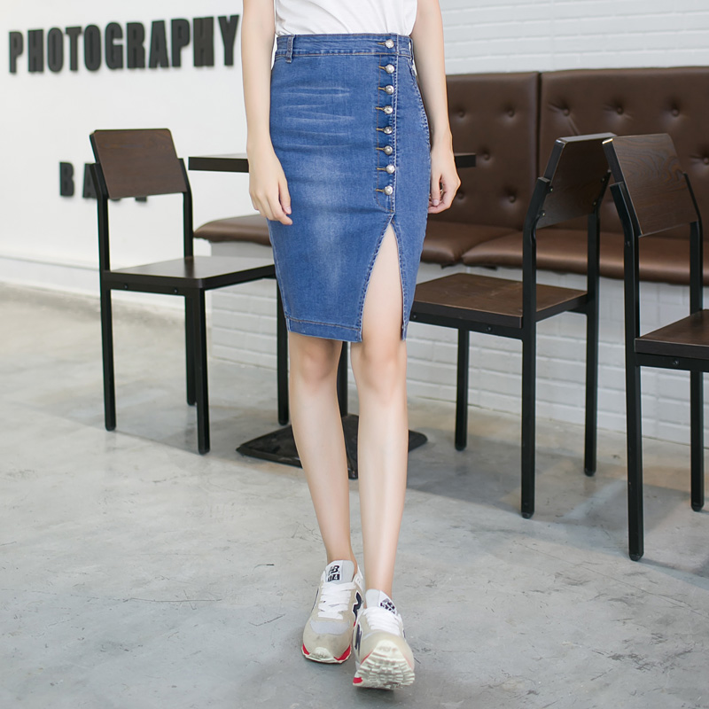 07b6358ebd Denim Skirt Female 2016 Spring Summer Button Pencil Women Long Skirts  American Apparel Jeans Long Skirt-in Skirts from Women's Clothing &  Accessories on ...