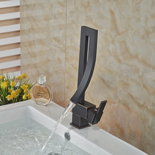 Unique Design Waterfall Basin Faucet Deck Mount One Hole Bathroom Mixer Water Tap Oil Rubbed Bronze