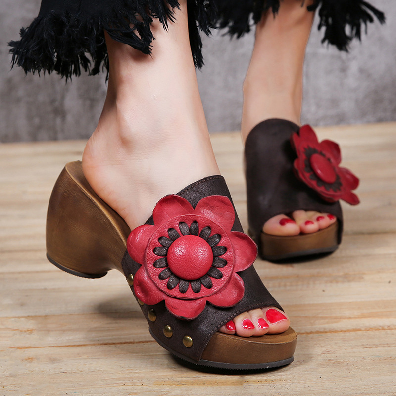 Female Slippers Summer Flowers Personality Thick Heels Genuine Leather High Heels All-Match Women Sandals 688-3 all summer long