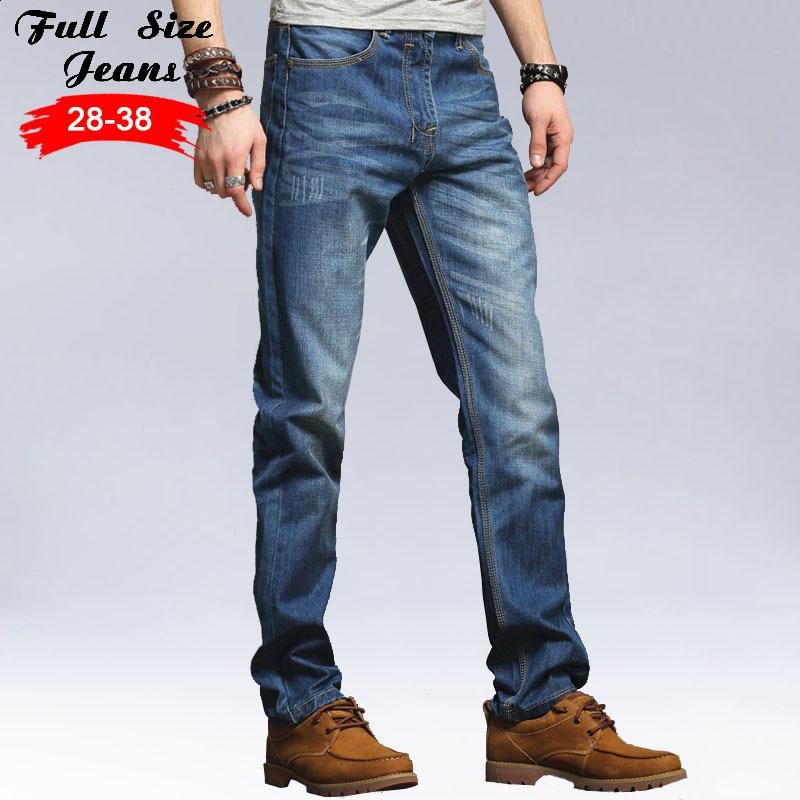 2017 Designer Plus Size Light Blue Straight Jeans Men Jogger Jeans 4XL 5XL 36 38 Big Size Loose Fit Denim Jeans 2017 new designer korea men s jeans slim fit classic denim jeans pants straight trousers leg blue big size 30 34