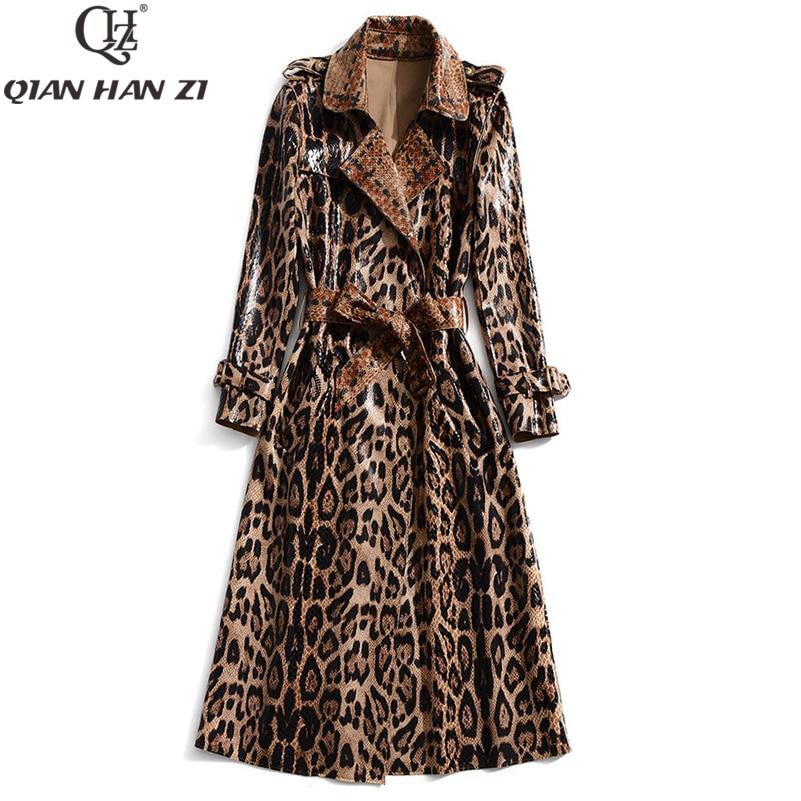 Qian Han Zi 2019 Женская Повседневная леопардовая тренчкот оверсайз винтажная выстиранная верхняя одежда из лакированной кожи со змеиным принтом тонкая одежда с поясом