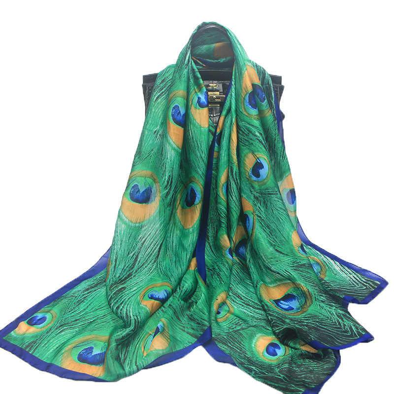 90 180 cm femmes Vert Sanrf Élégant Foulard En Soie Douce Plume de Paon Vert 1ba6e961bd8