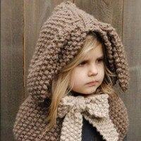 Le nouveau 2016 de forme de lapin chaud tricoté cap Enfants d'hiver manteau épaississement main foulards châle longue oreille café et gris