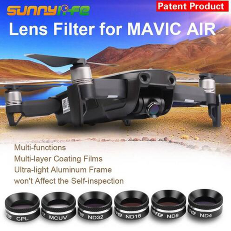 DJI Mavic Air Lens filters kit Multifunctional Lens Filter MCUV CPL ND4 ND8 ND16 ND32 Filter Sunhood for DJI MAVIC AIR Free Ship цена 2017
