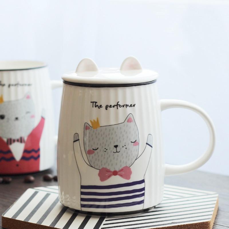 500ML Fashion Cat Coffee Mug Creative Cartoon Milk Breakfast Cup Cover Mug Student Mug Gift Cup