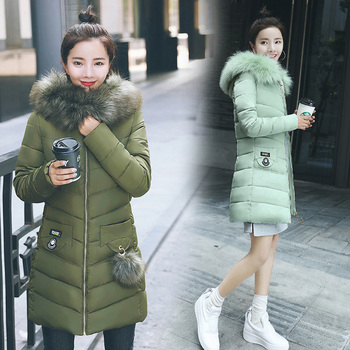 2018 New women's long winter jacket coat Casual solid fur collar hooded cotton padded parka coat 6 colors plus size M-3XL фото