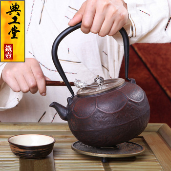 2016 Cast Iron Tea Pot No Coating Japanese Kung Fu Tea Set Handmade Japan Lotus Throne Retro Kettle Pot With Filter 1200ML