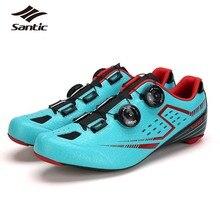 2017 Bicycle Shoes Ultralight Road Self-Locking Cycling Shoe Men SANTIC Carbon Fiber Bottom Road Bike Shoes Sneakers Sapatilha