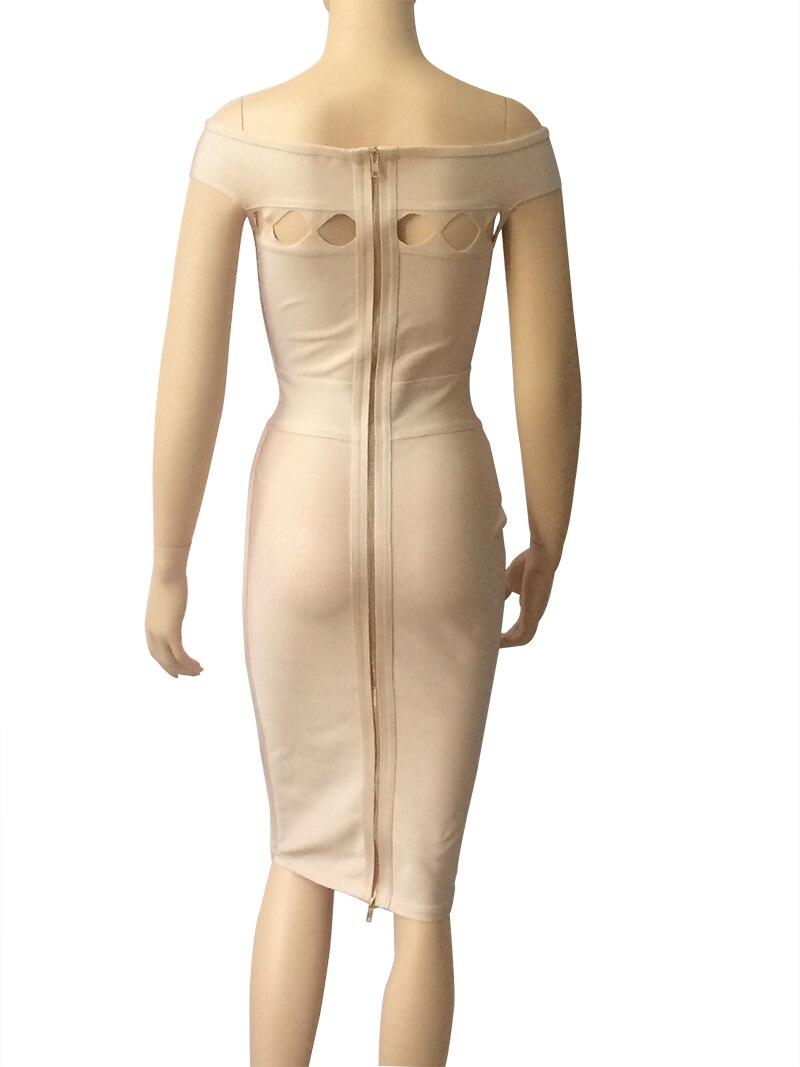 Sexy Photo Cou Md692 Évider Longueur Bandage As Genou Moulante Parti Robe Nouveautés L'épaule 2018 Femmes Slash De Gaine Club qIwHE1U