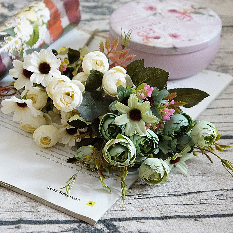 Flowers Decoration For Home: 15Heads 1Bouqut Real Touch Silk DIY Daisy Camellia