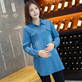 Spring Plus Size Cotton Denim Long Sleeve Shirt for Pregnancy Maternity Shirt and Top for Pregnant Women Shirt for Pregnancy