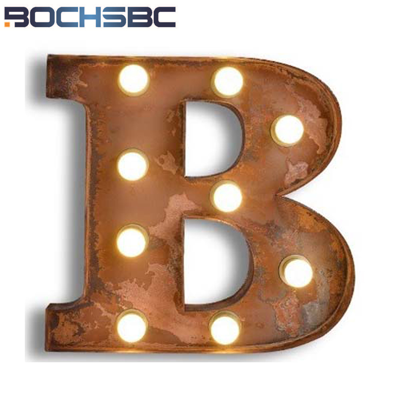 BOCHSBC Creative Iron Logo B Wall Lights Metal Letters B Wall Lamp Cafe Restaurant LED Lamp for Living Room Hotel Lamparm Light