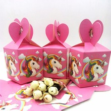 6pcs/lot  Unicorn Birthday Party Decorations Candy Box Kids Supplies Favors