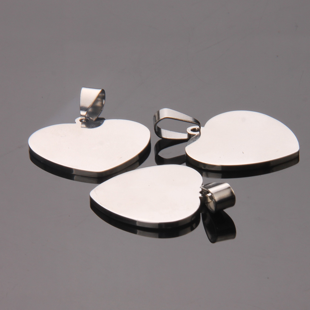 100pcs lot Stainless Steel Heart Pet Dog tag Charm Pendant Blanks Engraving Necklace Women Jewelry