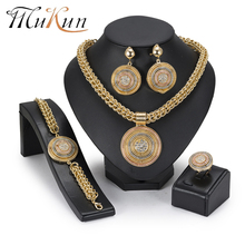 MuKun African Beads Jewelry Set Fashion Big Imitation Crystal Sets For Women Wedding Indian Ethiopian 2018 New