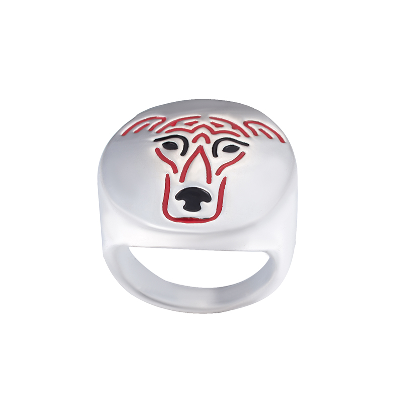 Greyhound with color selection enamel ring lovers and owners-Pet Jewelry unisex