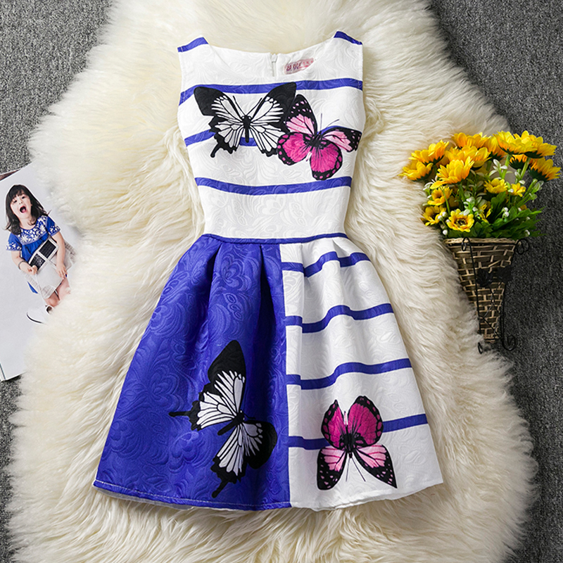 Butterfly Dress For Girl Wear Sleeveless Cotton Summer 2017 Kids Clothes Children Clothing Birthday Gift For Girls 6 7 8 9 10