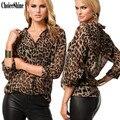 ChoiceShine Camisa Mulheres Blusas Camisas das Mulheres Casual Chiffon Completa Com Decote Em V Leopard Blusas & Camisas de Verão Chiffon Blusa Tops
