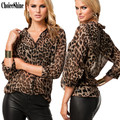 ChoiceShine Women's Shirt Women Blouses Shirts Casual Chiffon Full V-neck Leopard Blouses & Shirts Summer Chiffon Blouse Tops