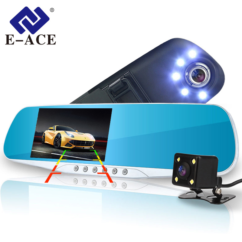 E-ACE de cámara de coche espejo retrovisor DVR Dual lente grabadora de Video Digital de registrador 5 luces Led noche completa visión HD 1080 P