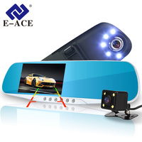 E ACE Car Camera Rearview Mirror DVR Dual Lens Digital Video Recorder Auto Registrator 5 Led Lights Night Vision Full HD 1080P