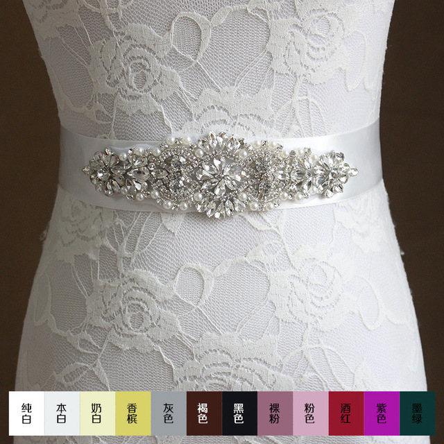 Free shipping 2016 Women's Fashion Wedding Sash Belt Crystal Rhinestone Pearl Bridal Sash Wedding Belt Sash Wedding Accessories