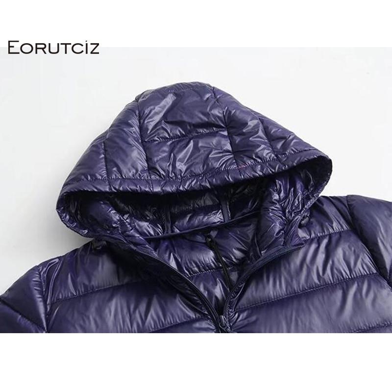 Image 5 - EORUTCIZ зимнее длинное пуховое пальто для женщин плюс Размер 7XL  ультра легкая куртка с капюшоном винтажное теплое Черное Осеннее  пуховое пальто LM143Пуховые пальто