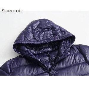 Image 5 - EORUTCIZ Winter Long Down Coat Women Plus Size 7XL Ultra Light Hoodie Jacket Vintage Warm Black Autumn Duck Down Coat LM143