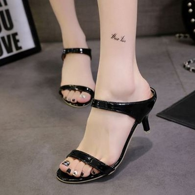 ed358d5cf36ef Feminine Cheap Fashion EU 34-39 Patent leather Peep toe Thin high heels  Sandals Summer