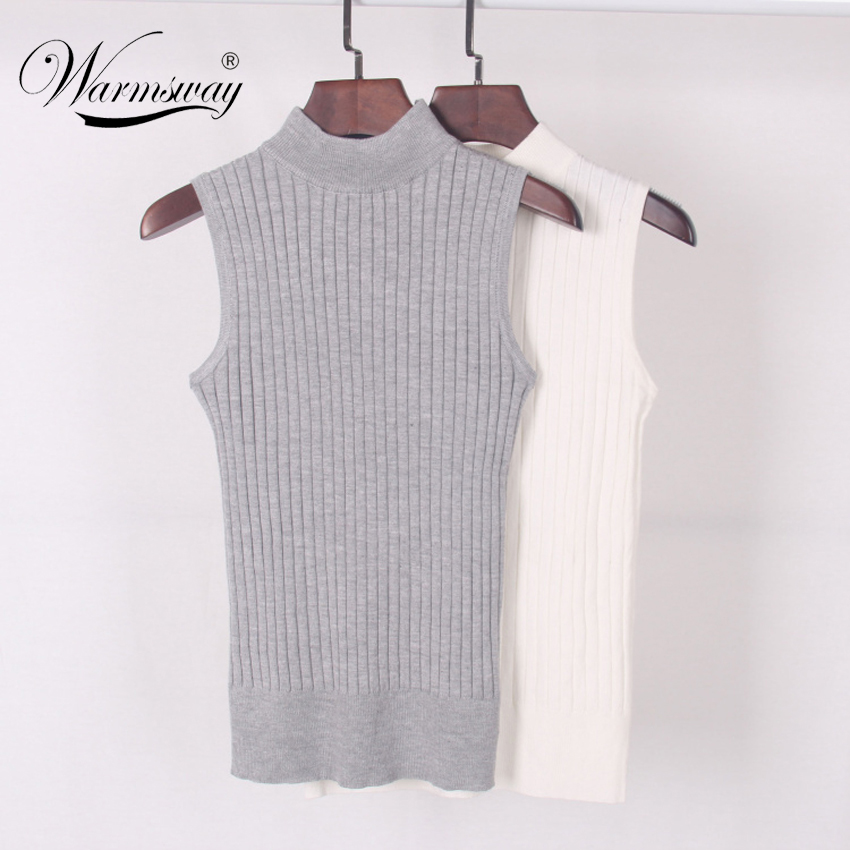 High Quality Summer Autumn Women Mock Neck Top Turtleneck Sleeveless T-shirt Slim Knitted Vest Female Tee Knitwear B-009