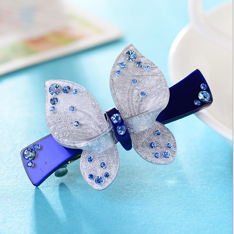 Romantic French hair barrettes acetate Hair pins butterfly hairpins with rhinestone hair accessaries for women bowtie clips