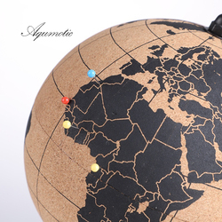 Aqumotic Cork Globe Holder Rubber Bark Unique Message Board Cork World Globes with Pins 3d Travel Ball Wine Coole Good Earth