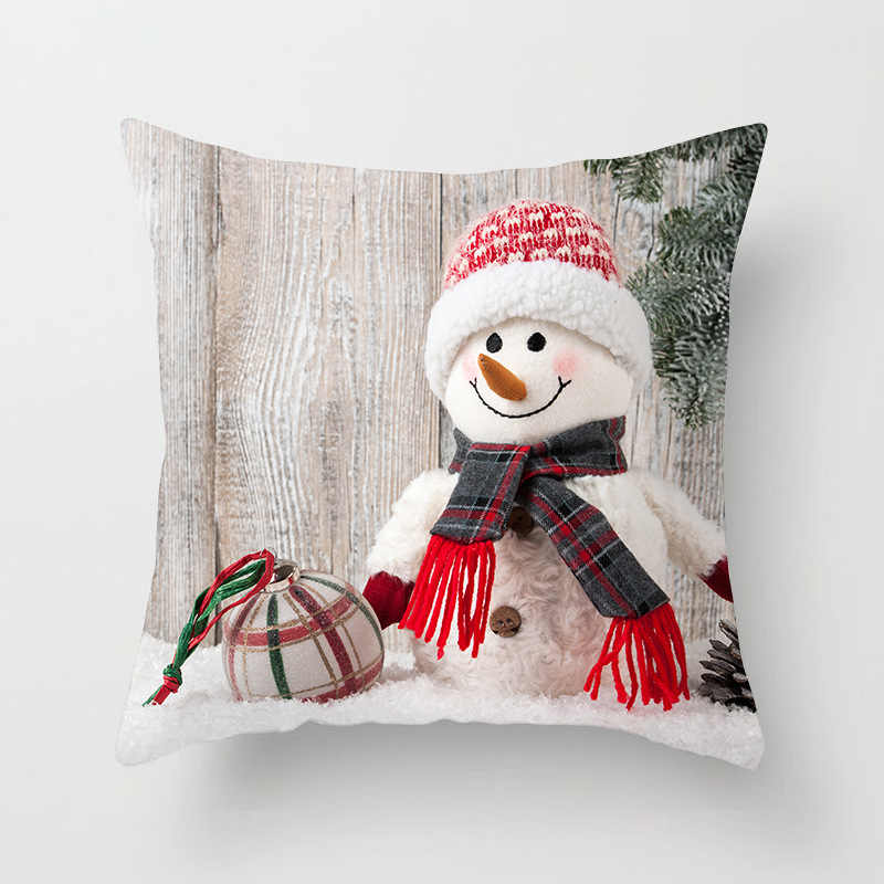 Polyester Pillow Case Christmas Cartoon Snowman Printing Dyeing Bed Home  Decor Cushion Cover Christmas Decor Pillowscases