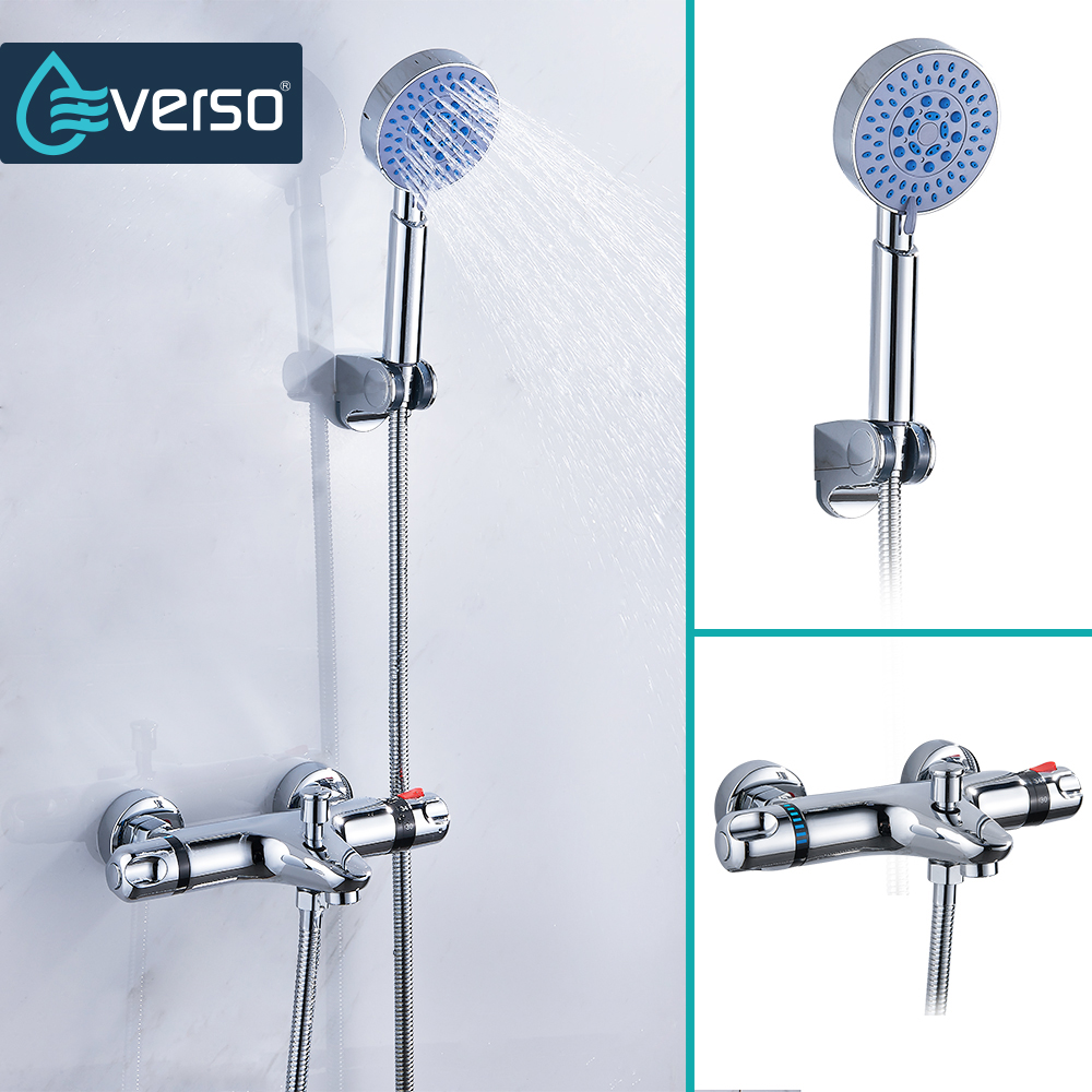 EVERSO Classic Bathroom Shower Faucet Bath Faucet Mixer Tap With Hand Shower Head Set Wall Mounted Thermostatic Mixing Valve chrome polished rainfall solid brass shower bath thermostatic shower faucet set mixer tap with double hand sprayer wall mounted