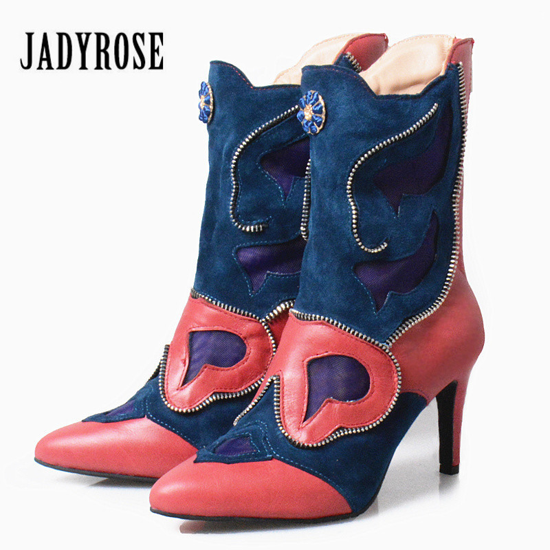 Jady Rose Patchwork Autumn Women Ankle Boots Pointed Toe Zipper Decor Rubber Boot High Heel Shoes Woman Botas Mujer 2016 pointed toe ankle boots crocodile patchwork leather women boots square heel motorcycle boots shoes woman zapatos mujer