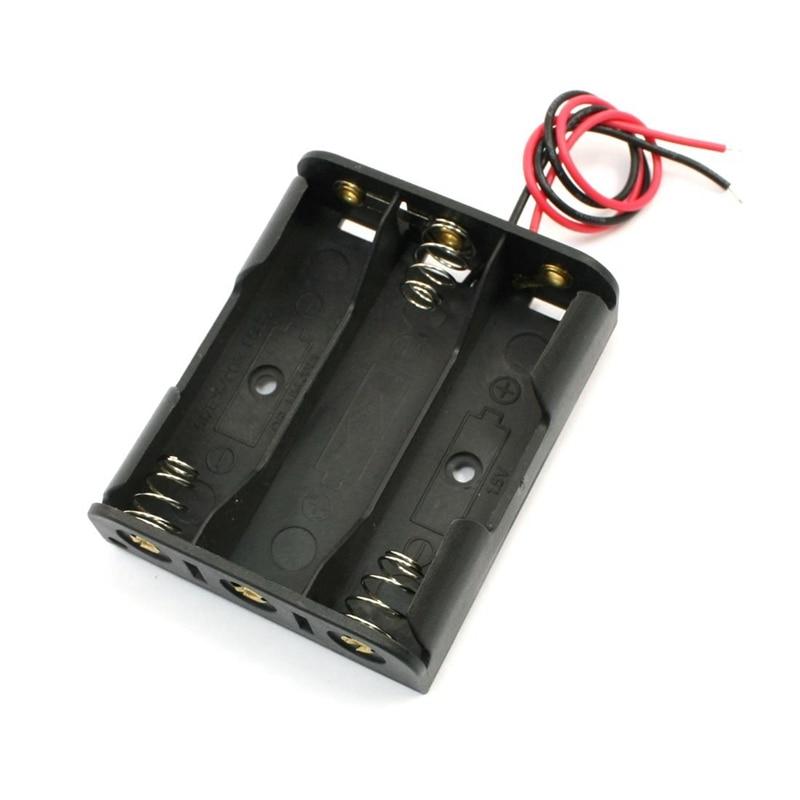 Grampo de mola de Plástico Preto 3x1.5 V Bateria AA Caso Titular Slot