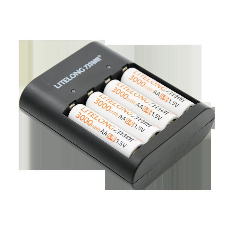 Nouveau produit 4 pièces 1.5 v 3000mWh AA li-polymère li-ion lithium polymère rechargeable batterie avec chargeur + 1 chargeur USB