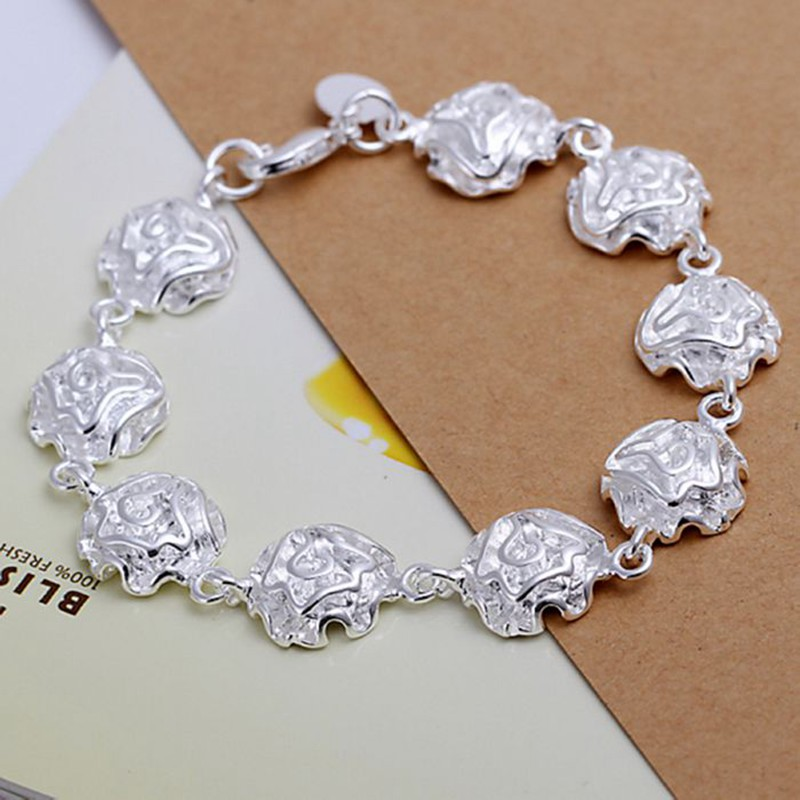 Free Shipping Wholesale silver bracelet, 925 fashion silver plated jewelry Rose Bracelet /HNCQTCDF KIUARSPK