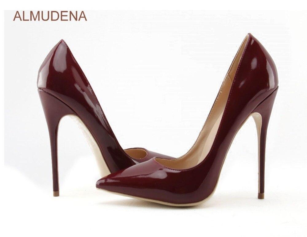 ALMUDENA européenne Sexy bordeaux miroir chaussures en cuir mince talon haut vin rouge bout pointu pompes Chic chaussures de mariage Drophip - 2