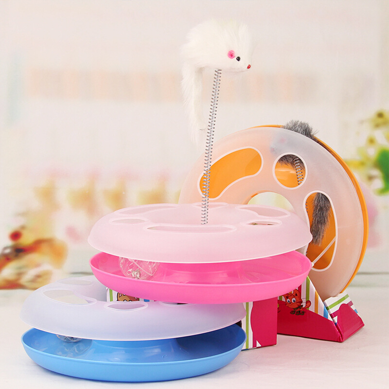 Hot Sale New Creative Pet Kettle Cat Toy Spring Mice Crazy Amusement Disk Multifunctional Disk Play Activity Free Shipping